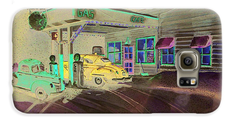 Rick Huotari Galaxy S6 Case featuring the painting Times Past Gas Station by Rick Huotari