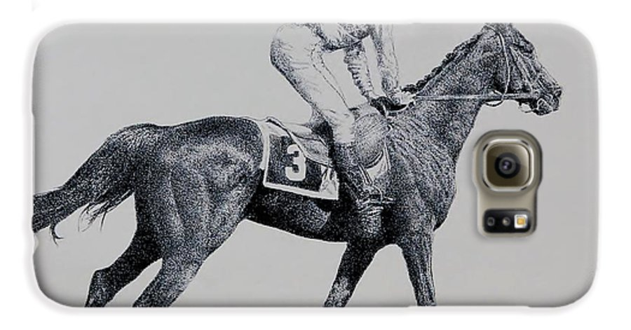 Racehorse Horse Horseracing Thorobreds Jockey Galaxy S6 Case featuring the drawing To The Gate by Tony Ruggiero