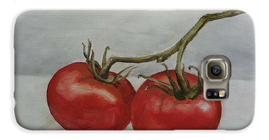 Oil Galaxy S6 Case featuring the painting Tomatoes On Vine by Jindra Noewi