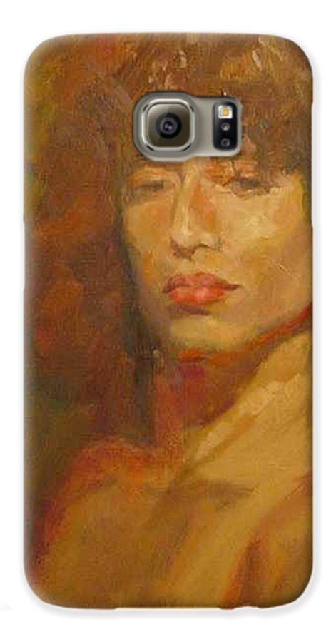 Portrait Galaxy S6 Case featuring the painting Tracy by Irena Jablonski