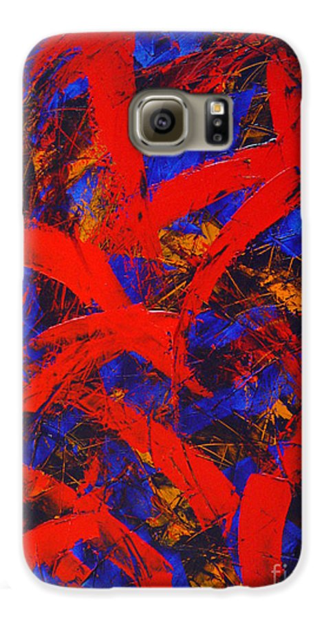 Abstract Galaxy S6 Case featuring the painting Transitions With Blue And Red by Dean Triolo