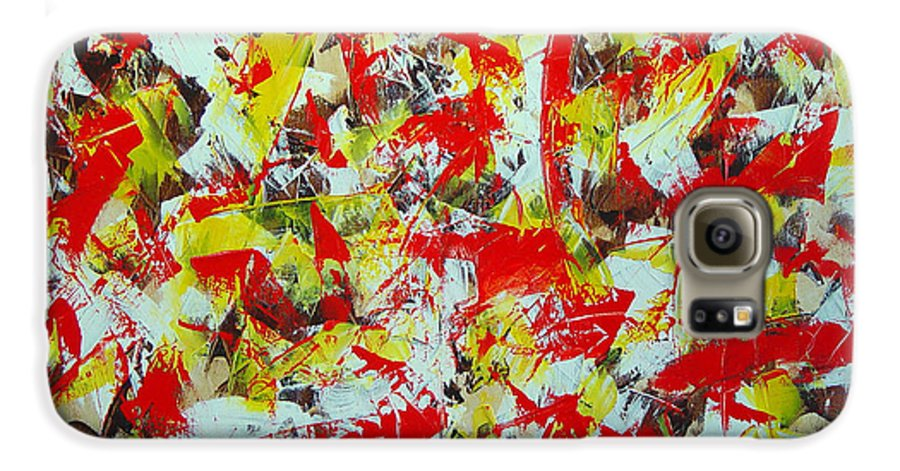Abstract Galaxy S6 Case featuring the painting Transitions With Yellow Brown And Red by Dean Triolo