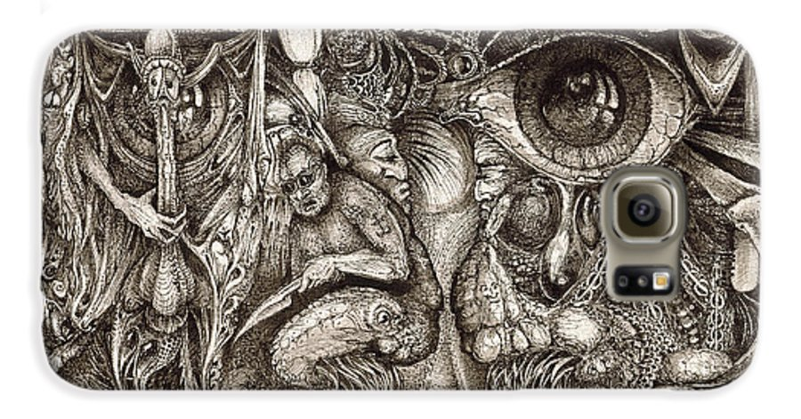 Surreal Galaxy S6 Case featuring the drawing Tripping Through Bogomils Mind by Otto Rapp