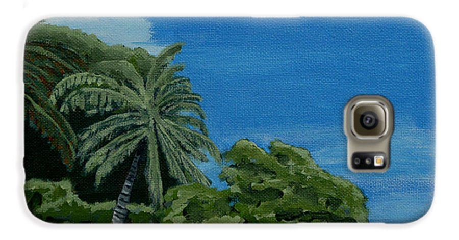 Beach Galaxy S6 Case featuring the painting Tropical Beach by Anthony Dunphy