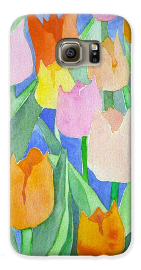 Tulips Galaxy S6 Case featuring the painting Tulips Multicolor by Christina Rahm Galanis