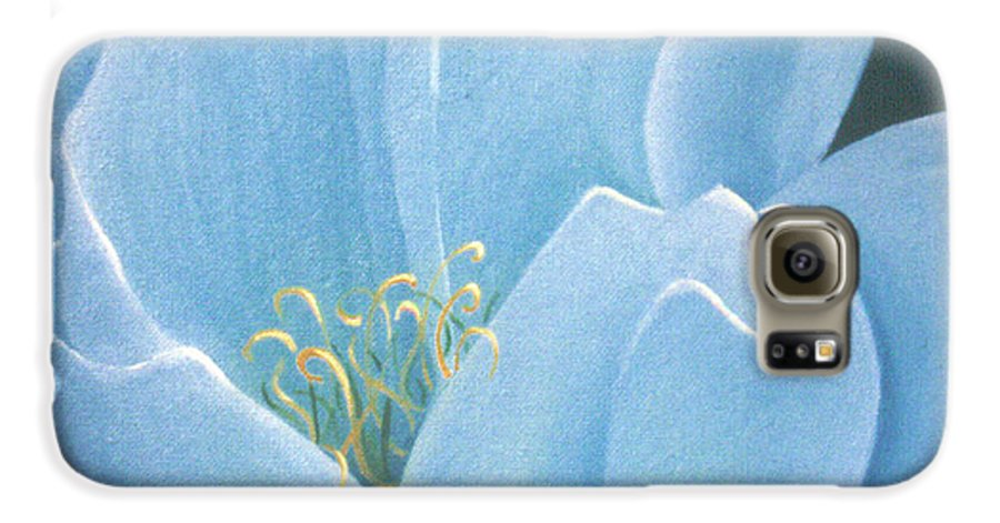 Turquoise Galaxy S6 Case featuring the painting Turquoise Waterlily by Christina Rahm Galanis