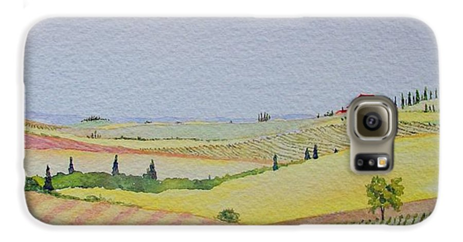 Watercolor Galaxy S6 Case featuring the painting Tuscan Hillside Three by Mary Ellen Mueller Legault