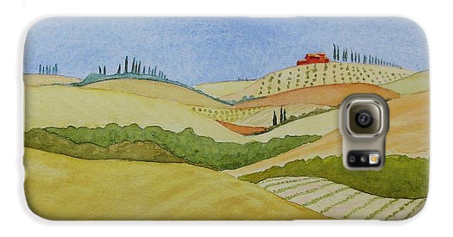 Italy Galaxy S6 Case featuring the painting Tuscan Hillside Two by Mary Ellen Mueller Legault