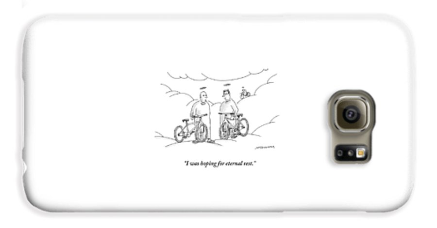 Angels Galaxy S6 Case featuring the drawing Two Angels With Bicycles Converse. Another Angel by Mick Stevens