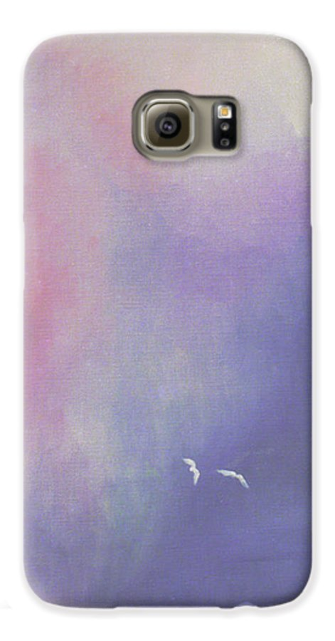 Sky Galaxy S6 Case featuring the painting Two Birds Flying In Ravine. by Christina Rahm Galanis