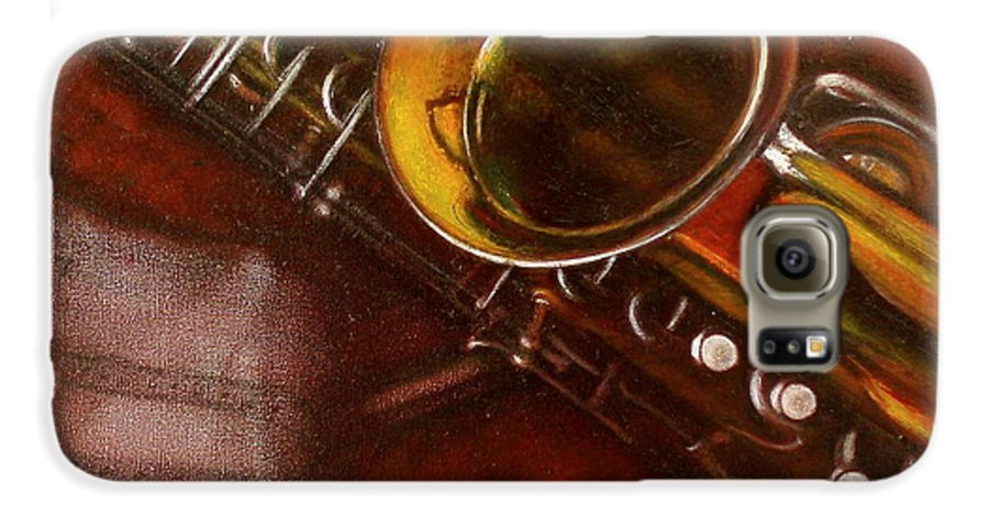 Still Life Galaxy S6 Case featuring the painting Unprotected Sax by Sean Connolly