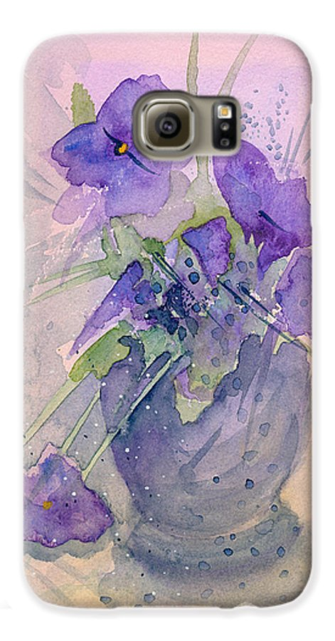 Purple Galaxy S6 Case featuring the painting Violets by Christina Rahm Galanis