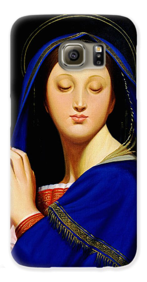 Religious Galaxy S6 Case featuring the painting Virgin With The Host After Ingres by Gary Hernandez
