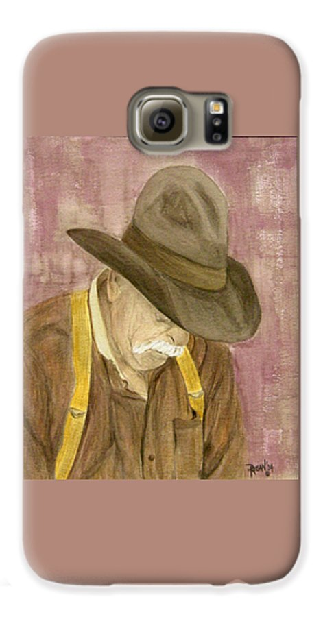 Western Galaxy S6 Case featuring the painting Walter by Regan J Smith