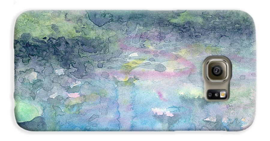 Blue Galaxy S6 Case featuring the painting Water Landscape by Christina Rahm Galanis