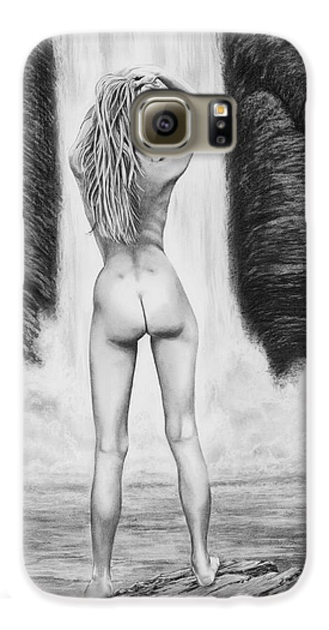 Waterfall Galaxy S6 Case featuring the drawing Waterfall Pin Up Girl by Murphy Elliott