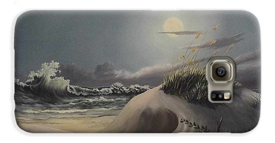 Landscape Galaxy S6 Case featuring the painting Waves And Moonlight by Wanda Dansereau