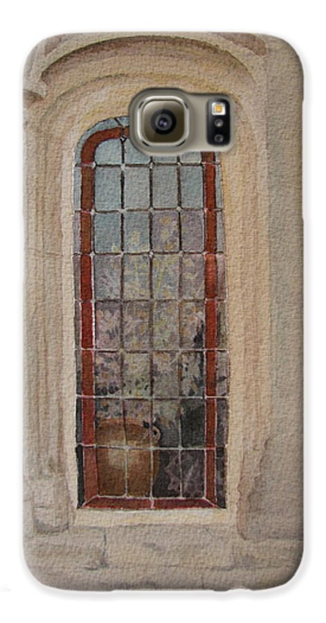 Window Galaxy S6 Case featuring the painting What Is Behind The Window Pane by Mary Ellen Mueller Legault