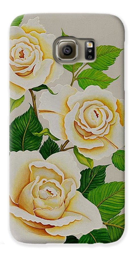 White Roses With Yellow Shading On A White Background. Galaxy S6 Case featuring the painting White Roses - Vertical by Carol Sabo