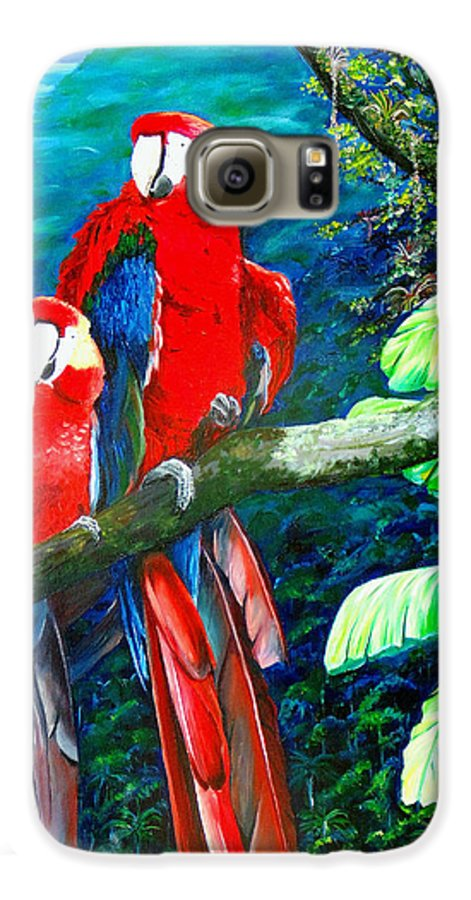 Caribbean Painting Green Wing Macaws Red Mountains Birds Trinidad And Tobago Birds Parrots Macaw Paintings Greeting Card  Galaxy S6 Case featuring the painting Who Me  by Karin Dawn Kelshall- Best