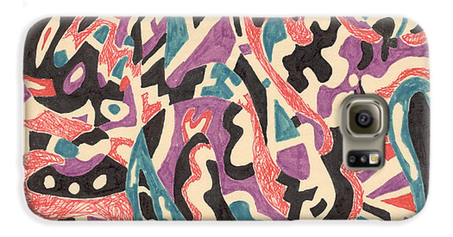 Wild Tribal Abstract Drawing Original Red Cream Black Teal Blue Purple Pattern Movement Rlmdesignes Galaxy S6 Case featuring the drawing Wild by Rebekah McLeod