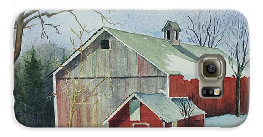 New England Galaxy S6 Case featuring the painting Williston Barn by Mary Ellen Mueller Legault
