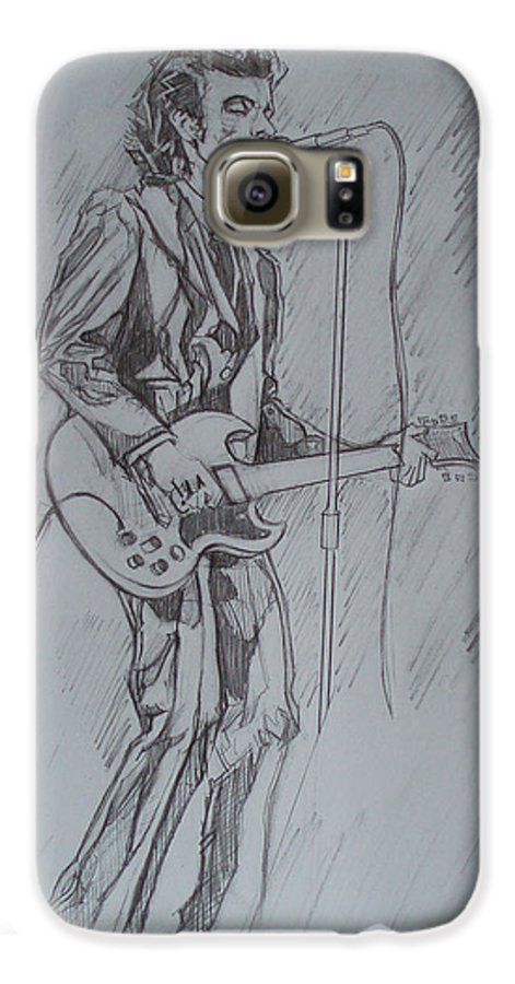 Pencil Galaxy S6 Case featuring the drawing Mink Deville - Steady Drivin' Man by Sean Connolly