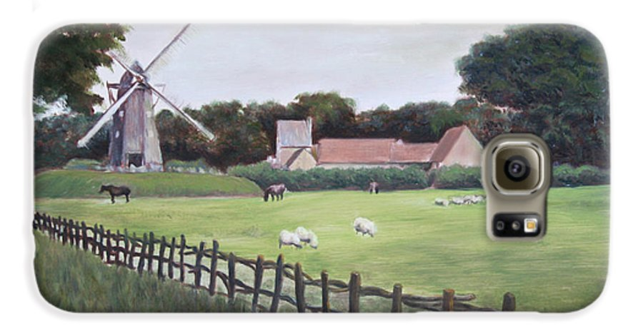 Farm Galaxy S6 Case featuring the painting Windmill On Farm by Jennifer Lycke