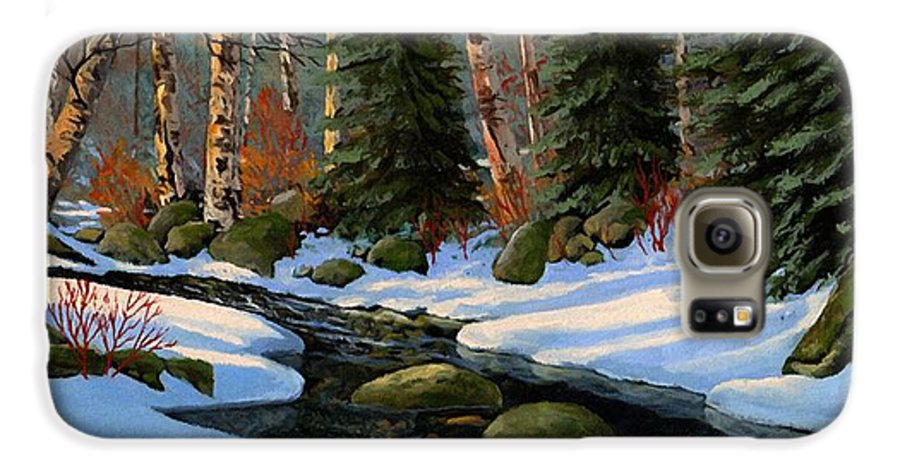 Landscape Galaxy S6 Case featuring the painting Winter Brook by Frank Wilson
