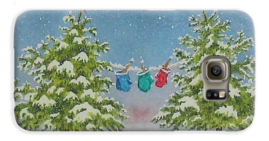Fun Galaxy S6 Case featuring the painting Winter Is Fun by Mary Ellen Mueller Legault
