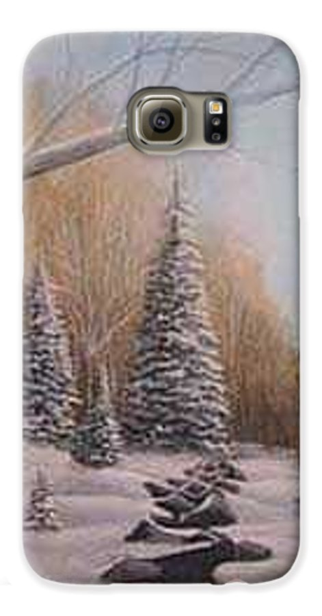 Rick Huotari Galaxy S6 Case featuring the painting Winter Morning by Rick Huotari