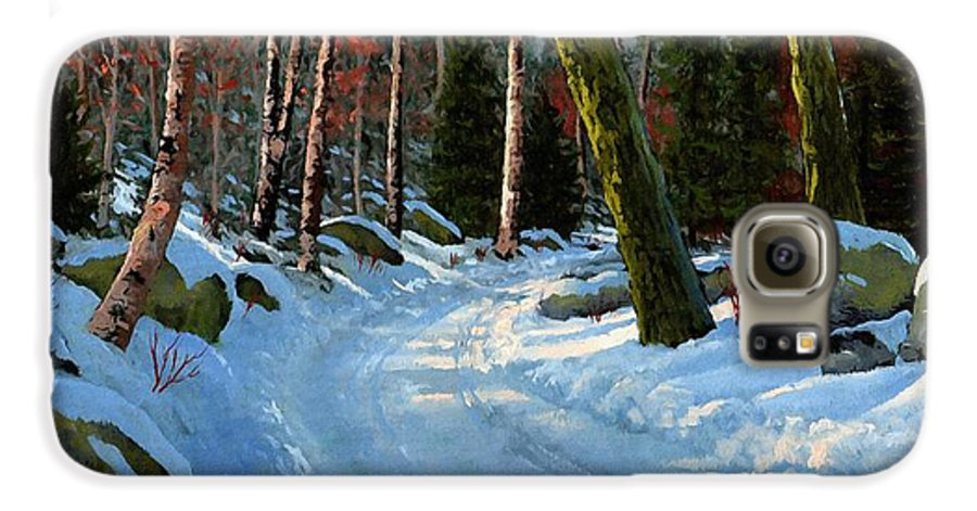 Landscape Galaxy S6 Case featuring the painting Winter Road by Frank Wilson