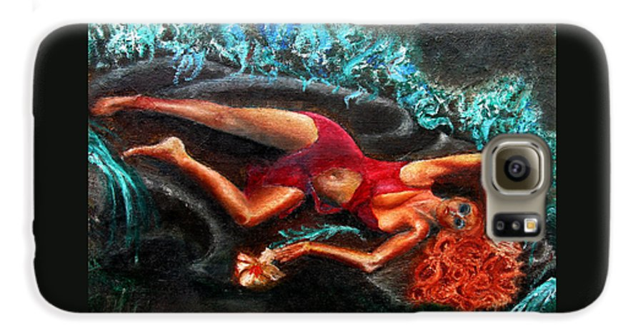 Females Galaxy S6 Case featuring the painting Woman In A Red Dress Holding A Flower by Tom Conway