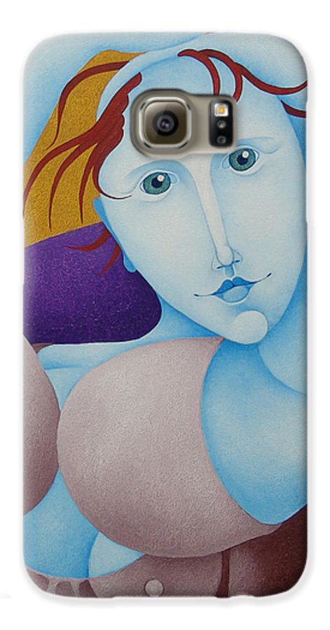Sacha Galaxy S6 Case featuring the painting Woman With Raised Arms 2006 by S A C H A - Circulism Technique