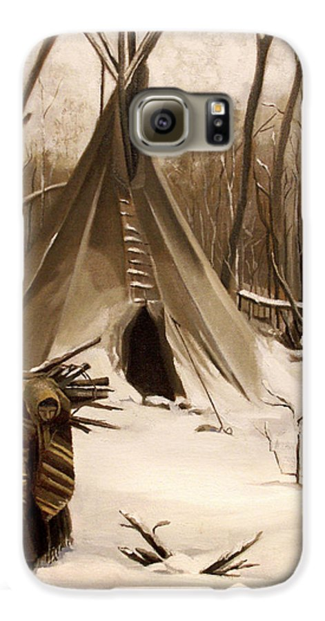 Native American Galaxy S6 Case featuring the painting Wood Gatherer by Nancy Griswold