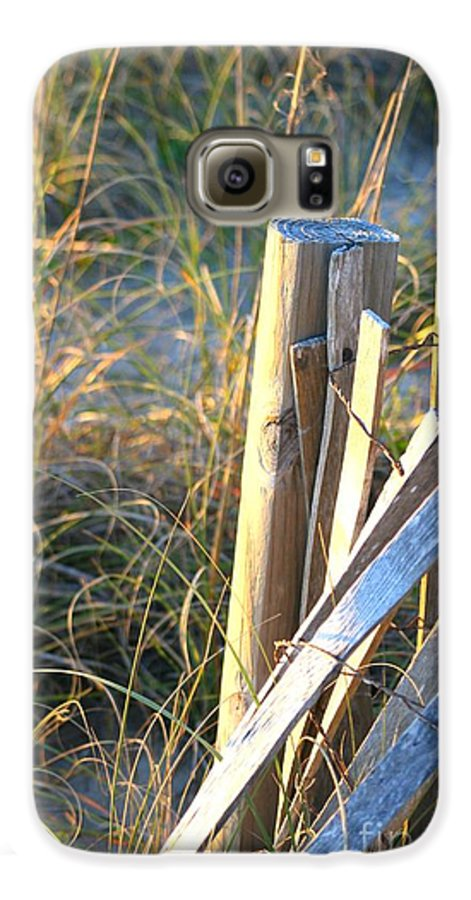Post Galaxy S6 Case featuring the photograph Wooden Post And Fence At The Beach by Nadine Rippelmeyer