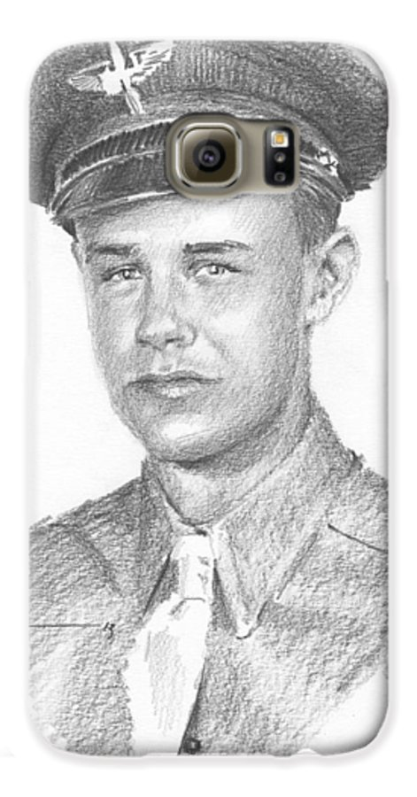 <a Href=http://miketheuer.com>www.miketheuer.com</a> Wwii Military Dad Pencil Portrait Galaxy S6 Case featuring the drawing Wwii Military Dad Pencil Portrait by Mike Theuer