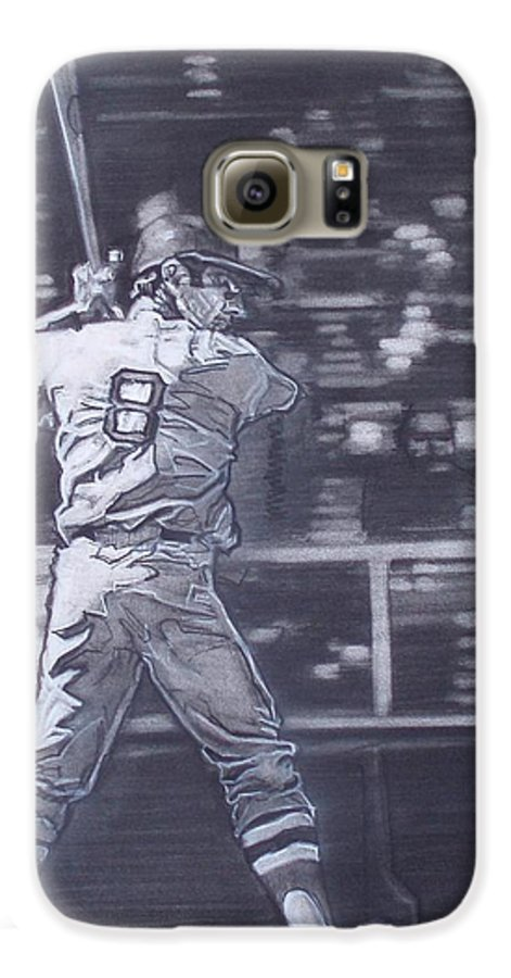 Charcoal Galaxy S6 Case featuring the drawing Yaz - Carl Yastrzemski by Sean Connolly