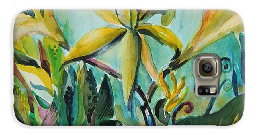 Lily Galaxy S6 Case featuring the painting Yellow Day Lilies by Mindy Newman