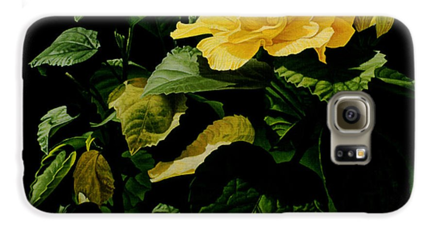 Floral Galaxy S6 Case featuring the painting Yellow Hibiscus by Gary Hernandez