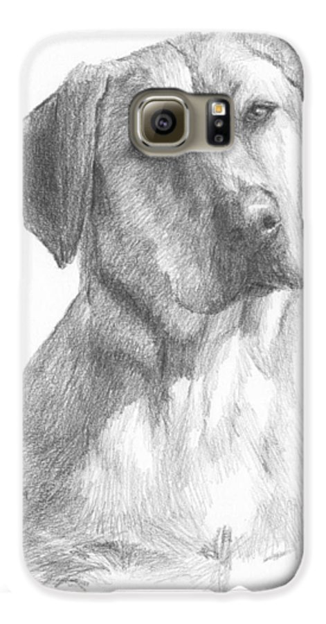 <a Href=http://miketheuer.com>www.miketheuer.com</a> Yellow Lab Dog Pencil Portrait Galaxy S6 Case featuring the drawing Yellow Lab Dog Pencil Portrait by Mike Theuer