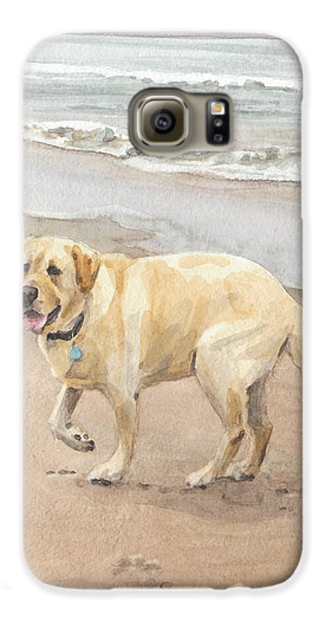 <a Href=http://miketheuer.com Target =_blank>www.miketheuer.com</a> Yellow Lab On Beach Watercolor Portrait Galaxy S6 Case featuring the drawing Yellow Lab On Beach Watercolor Portrait by Mike Theuer