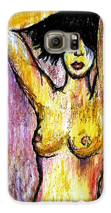 Nude Galaxy S6 Case featuring the drawing Yellow by Thomas Valentine