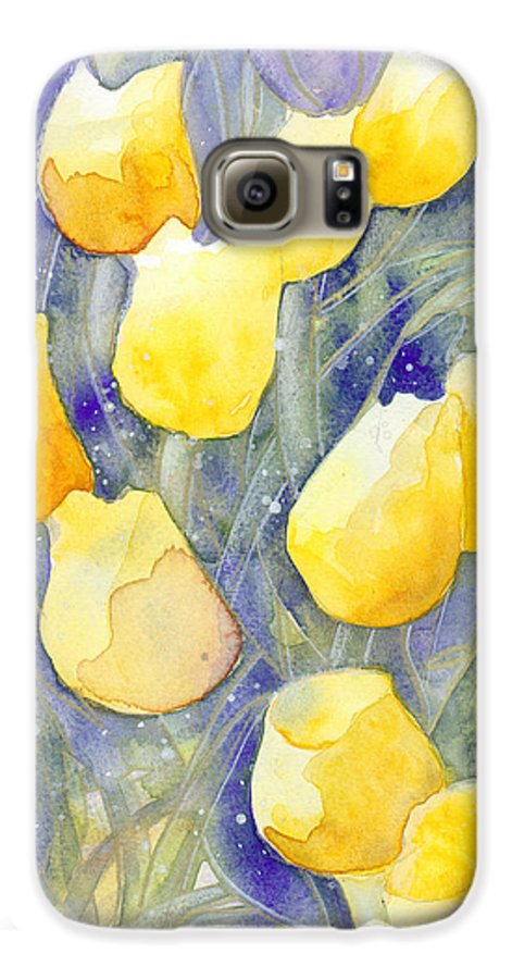 Yellow Tulips Galaxy S6 Case featuring the painting Yellow Tulips 1 by Christina Rahm Galanis
