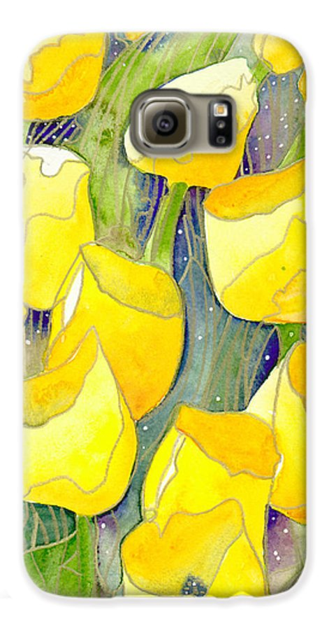 Yellow Tulips Galaxy S6 Case featuring the painting Yellow Tulips 2 by Christina Rahm Galanis