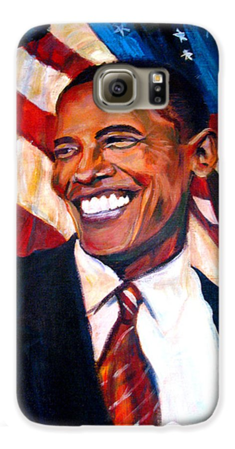 Barack Galaxy S6 Case featuring the painting Yes We Can by Art Nomad Sandra Hansen
