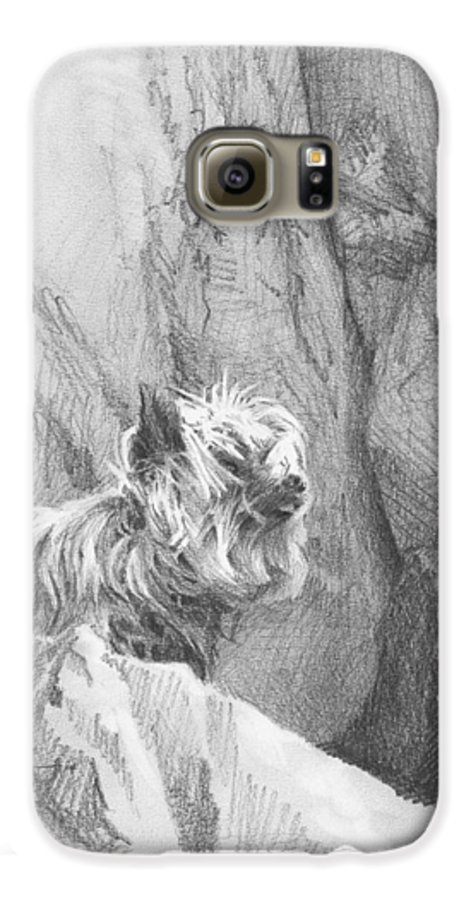 <a Href=http://miketheuer.com Target =_blank>www.miketheuer.com</a> Yorkie Dog On A Cliff Pencil Portrait Galaxy S6 Case featuring the drawing Yorkie Dog On A Cliff Pencil Portrait by Mike Theuer