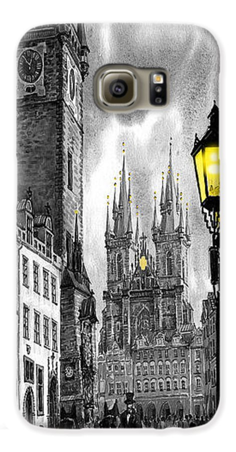 Geelee.watercolour Paper Galaxy S6 Case featuring the painting Bw Prague Old Town Squere by Yuriy Shevchuk