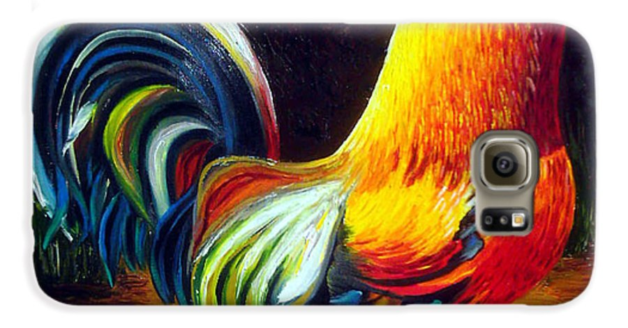 Cuban Art Galaxy S6 Case featuring the painting Rooster by Jose Manuel Abraham