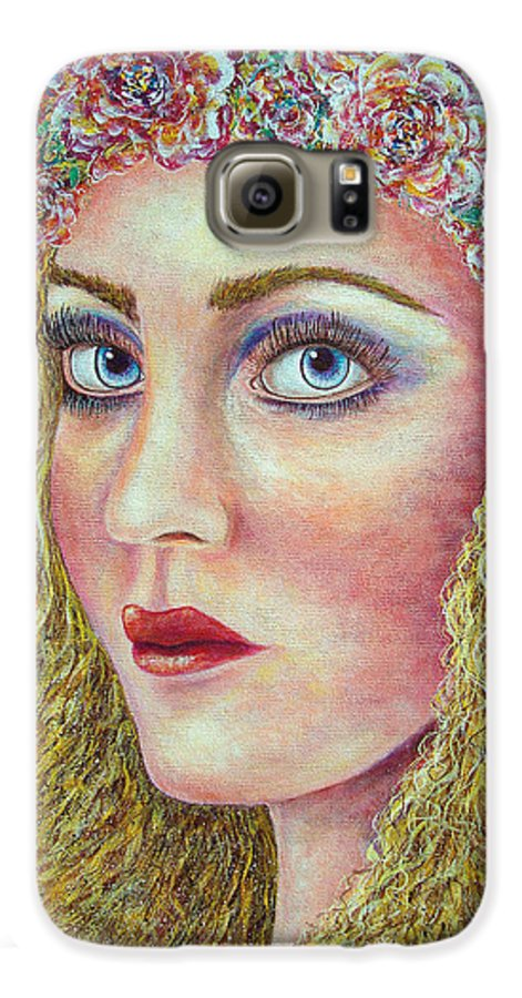 Woman Galaxy S6 Case featuring the painting  The Flower Girl by Natalie Holland